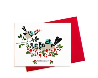 Happy Holidays Card,  Birds Nest Family of Four Single Greeting Card