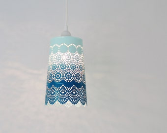 Ombre Pendant Light, Hanging Pendant Lighting Fixture, Metal Lace Shade In Blue Ombre, Modern BootsNGus Lamps and Home Decor