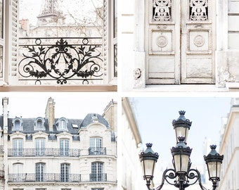 Paris Photography Set - Paris in Cream, Eiffel Tower, Paris Door, Paris Apartment, Four Fine Art Photographs, Urban Decor, Large Wall Art