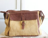 canvas & leather laptop messenger bag made in Italy