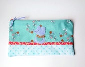 """Zipper Pouch, 9 x 5.25 """" in Teal, Coral, Peach, Blue, Periwinkle and Cream Flowers and Polka Dots with Handmade Felt Mouse Embellishment"""