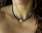Single Pearl Necklace/ Real Pearl Necklace/ Lapis Necklace/ Pearl Gemstone Necklace/ Lapis Gold Necklace/ Pearl Choker/ Lapis and Pearl