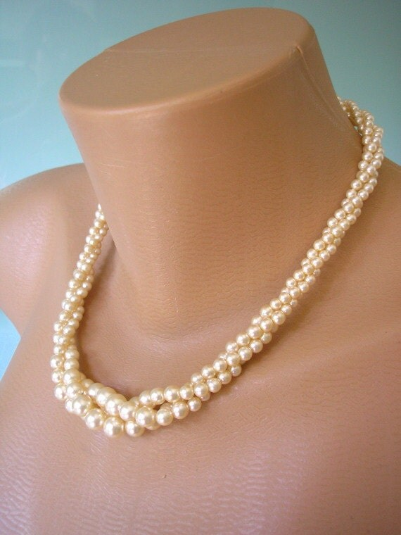 Twisted Pearl Necklace Great Gatsby Napier Jewelry Pearl