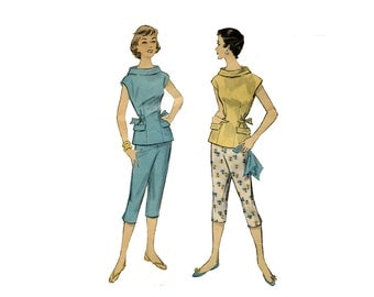 1950s Pants and Overblouse Pattern Tapered Capri Cigarette Pants Roll Collar Side Tab Top Separates Advance 7949 Bust 34 Vintage Sewing