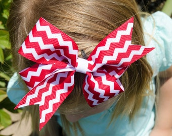 Hair Bow - Red Chevron Print Pinwheel Hairbow