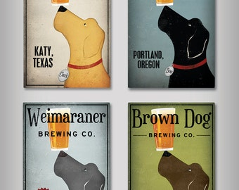 FREE to Personalize Custom LABRADOR Craft Beer Brewing Company graphic art canvas Ready-to-Hang NO Framing!