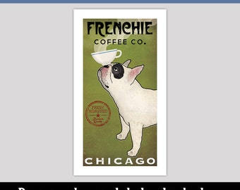 FRENCHIE French Bulldog Coffee or Tea Co. CUSTOM Personalized Archival Pigment Print