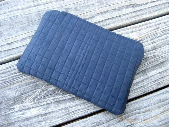 Zipper Pouch Clutch in Navy Blue Dark Blue
