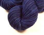 Hand Dyed Yarn - Sock Weight Superwash Merino Wool Yarn - Ink Tonal - Knitting Yarn, Sock Yarn, Wool Yarn, Blue Yarn, Fingering Weight