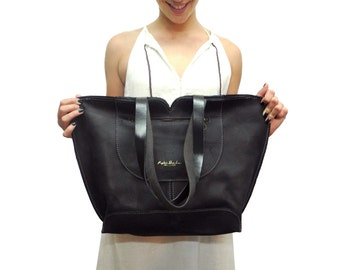 Black Leather tote, big leather bag, Women bag , The perfect all day tote bag by Ayelet Shachar