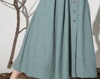 maxi green skirt, linen skirt, A-line skirt, pleated skirt, vintage skirt, high waist skirt, button skirt, custom skirt(1161)