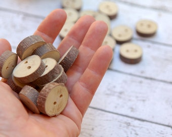 Wood buttons, set of 10, 2 Holes, Eco Friendly Natural Craft Supply