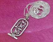 Vintage Hieroglyphic Sterling Silver Pendant, Vintage Silver Necklace, Egyptain Cartouche Symbols, 2.3 Grams