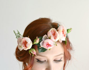 Bridal cirlcet, Rose crown, pink floral crown, woodland wedding, boho headpiece, bridal hairpiece, hair accessory - Petals and fern