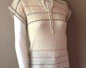 Vintage Women's 80's Knit Top, Sleeveless, Tan, Striped, Acrylic by Partners- Mervyn's (M)