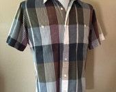 Vintage Men's 80's Pierre Cardin, Shirt, Plaid, Button Up, Short Sleeve (M/L)