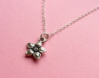 Jasmine flower necklace, small silver flower jewellery, Gift, Nature inspired, Sterling silver chain, Flower pendant necklace