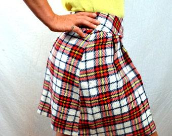 Vintage 1960s 70s Mini Plaid Pleated School Girl Skirt - Glenbrooke Jr