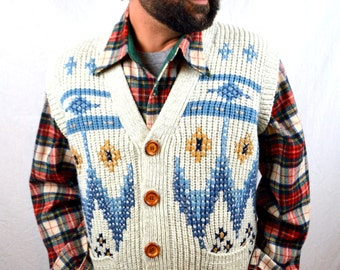Vintage 1970s 80s Knit Winter Button Up Cozy Ski Lodge Vest