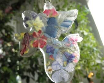 Heavenly Garden Angel Resin Suncatcher-Pressed Flowers-Hydrangea,Verbena,Pansy,Pine Sprig,Lobelia,Rose,Veronica-Gifts Under 30-Angel Lover