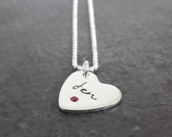 Personalized Birthstone Heart Necklace - Sterling Silver Flush Set Necklace - Gifts for Her - Hand Stamped Necklace
