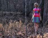 Vintage 60s Tunic Mini Dress Handmade Asian Mod Colorful Irridescent Neon Check Print Side Slit Party Wear Womens XS / S 0 2 4