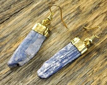 Kyanite Earrings, Kyanite Gold Earrings, Kyanite Slice Earrings, Kyanite Pendant Earrings, Kyanite Stone Earrings, 14k Gold Fill Ear Wire