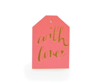 With Love - set of 6 letterpress tags