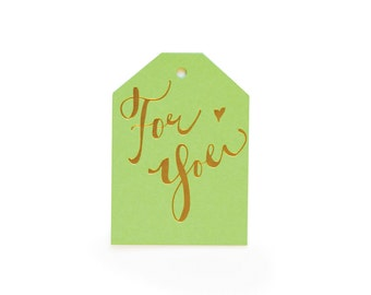 For You - set of 6 letterpress tags