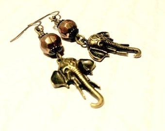 "Earrings - Bronze Elephant Dangles - ""I'll Never Forget How You Made Me Feel"""