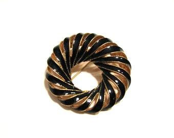 BIG Vintage Round Gold Tone and Swirled Black Enameled Pin Brooch
