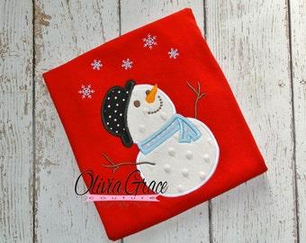 Snowman shirt, Boys Christmas Snowman Shirt, Girls snowman shirt, Embroidered Bodysuit or Shirt, Winter, Custom Christmas Outfit