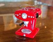 "Dollhouse Miniature ""Lilly"" Coffee Espresso Maker Machine 1/12 Scale - Red Color"