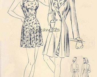 1940s Bathing Suit Pattern Back Buttoned Sweetheart Neckline Flared Skirt with Bloomers and Princess Seamed Coat Butterick 2103 Bust 34