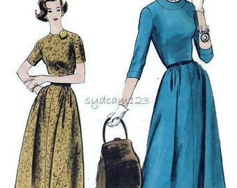 Vintage 1950s Vogue Dress Pattern Collarless Banded Neckline Flared Skirt Vogue 9284 Bust 34