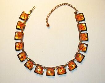 Vintage Enameled Copper Confetti Modernist Necklace (N-1-1)