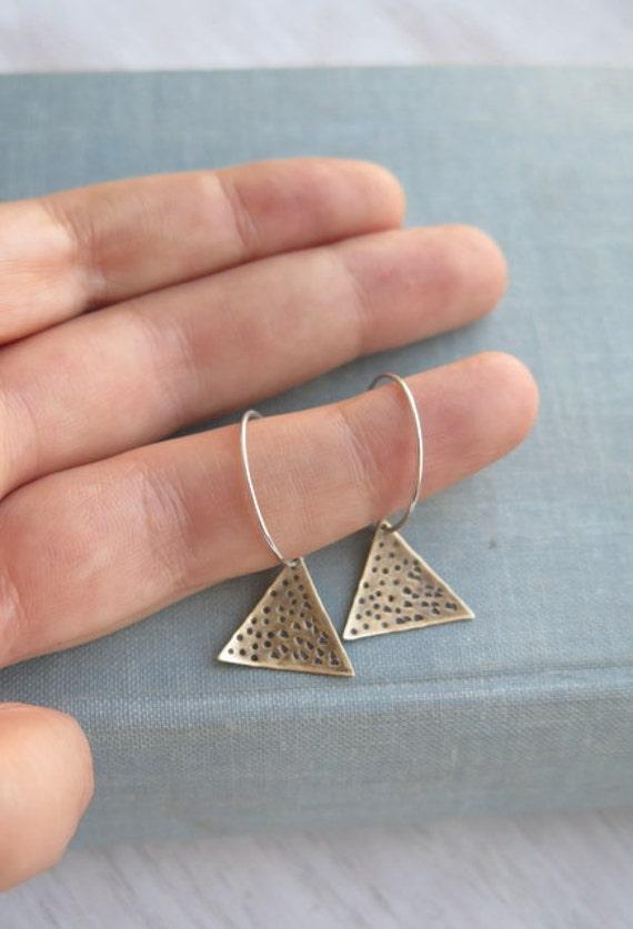 Triangle earrings sterling silver hoops ethnic tribal earrings