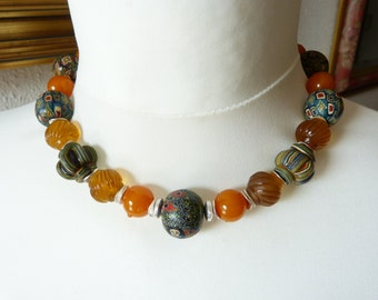 Ancient Checkerboard  Mosaic Glass Beads, Viking Beads,  Necklace, Replica Beads and old Bakelite beads