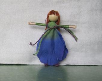 Blue Fairy Doll - Waldorf Doll - Flower Fairy - Art Doll, Worry Doll, Faery, elemental