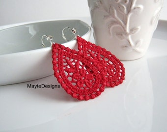 Red Earrings/ Venice Lace Earrings/Red Lace Drop Earrings/Red Lace Bridal Earrings/