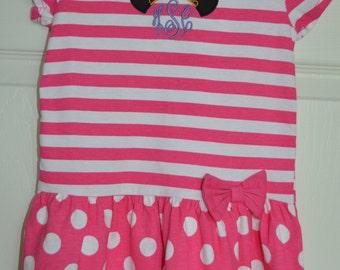 Minnie Mouse Striped Princess Crown Cotton Dress