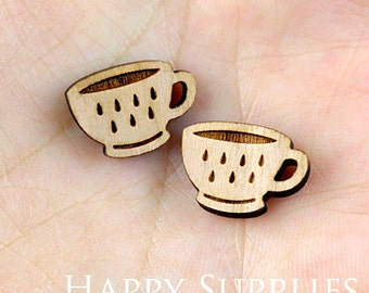 4pcs (SWC136) DIY Laser Cut Wooden Cup Charms
