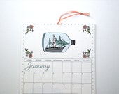 2016 Wall Calendar, 8.5x11 inches featuring 12 different illustrations in aqua, peach, green, slate gray, teal, orange and pink