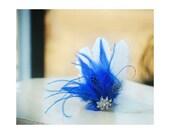 Ivory & Royal Blue - Rhinestone Fascinator Hair Comb / Clip. Classy Statement Wedding Bridal Bride Couture. White Turquoise Aqua Navy Purple