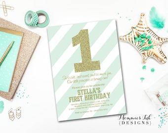 Gold Glitter First Birthday Invitation, Mint Stripes, Gold First Birthday Invite, Mint and Gold Birthday Invitation, DIY Printable