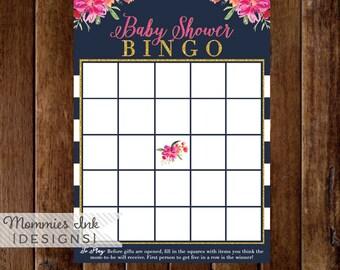 Watercolor Floral Baby Bingo, Watercolor Baby Shower Bingo Card, Made to Match, Baby Bingo, Baby Shower Printable, Printable Bingo Card