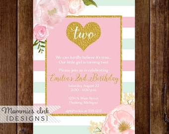 Mint and Pink Stripe Gold Heart Birthday Party Invitation, Gold Glitter Heart, Glitter Invite, 2nd Birthday Invitation, Watercolor Floral