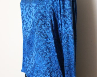 FREE SHIPPING Vintage Royal Blue Paisley Silk Blouse    made by carlisle   Size 10