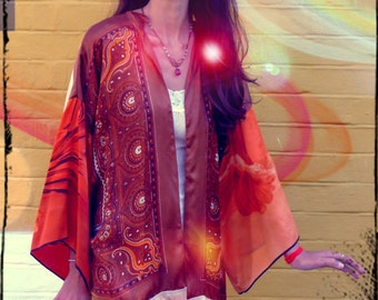 Upcycled Silk Scarf Kimono Fringed Print Clash Festival wear                    Made in England UK
