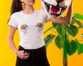 TIGER TA-TAS T-shirt, Tiger T-shirt, Tiger Tee, White Tee, Animal T-shirt, Limited Edition T-shirt